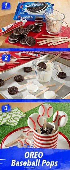 OREO Baseball Pops So cute and really so much easier to make than you'd think. Simply pop stick into OREO Cookies, dip in melted candy coating. Pop in fridge to set and decorate with icing. A summer homerun! Softball Party, Baseball Birthday Party, 1st Birthday Parties, Boy Birthday, Cake Birthday, Birthday Ideas, Birthday Basket, Sports Party, Birthday Games