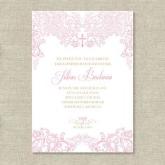 Elegant Lace Royal Flourish Cross Pink Gold Religious Baptism First Communion Party Digital or Printed Printable Customized Invitation