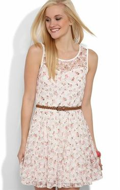 Deb Shops Belted #Skater #Dress with Ditsy #Floral Print and Illusion Bodice $24.67