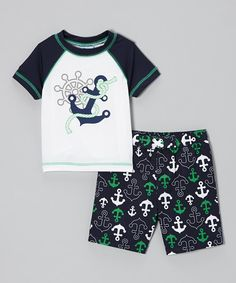 Love this Peacoat Anchor Rashguard & Swim Trunks - Infant & Toddler by Baby Buns on #zulily! #zulilyfinds