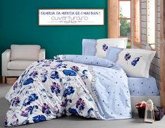 Lenjerie de pat King Ranforce Luda Blue by Clasy Duvet, Comforters, King, Blanket, House Styles, Bed, Home, Down Comforter, Creature Comforts
