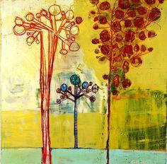 "'Golden Group' by Barbara Gilhooly, 12"" x 12"", mixed media on birch (c) 2013 $400. http://barbaragilhooly.com/"