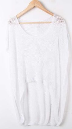 White Round Neck Hollow Batwing Loose Cotton Sweater