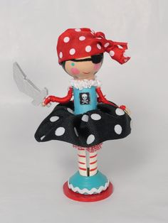 Pirate girl clothespin doll by lallygag on Etsy Doll Crafts, Cute Crafts, Clothespin Art, Wood Peg Dolls, Kokeshi Dolls, Dolls Dolls, Clothes Pegs, Little Doll, Fairy Dolls