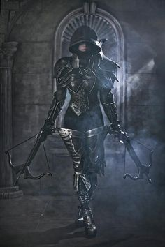 assassin rouge female cosplay costume LARP | NOT OUR ART - Please click artwork for source | WRITING INSPIRATION for Dungeons and Dragons DND Pathfinder PFRPG Warhammer 40k Star Wars Shadowrun Call of Cthulhu and other d20 roleplaying fantasy science fiction scifi horror location equipment monster character game design | Create your own RPG Books w/ www.rpgbard.com