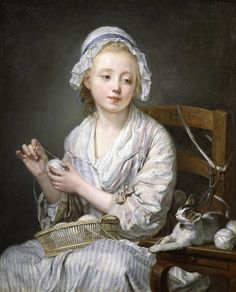 French painter, Jean-Baptiste Greuze (1725-1805) - The Wool Winder (c. 1759), owned by the Frick Museum in New York//