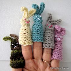 Hippity, hoppity, Easter's on it's way... These little bunnies will hop right into your heart...and onto your favorite little ones' fingers...