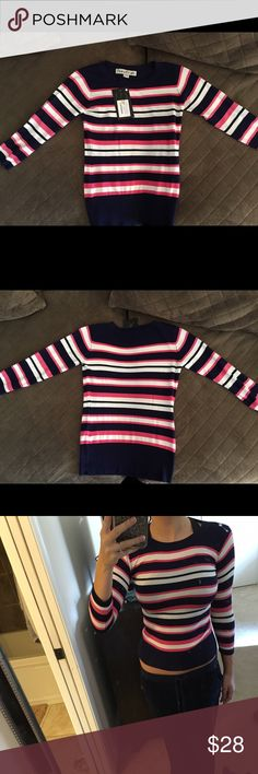 NWT Bright and Beautiful Vintage Inspired Shirt Pink, navy blue, and white striped 3/4 sleeved shirt. Super soft, snug, and comfortable material. New with tags. Purchased from a retro glamour boutique, this top is vintage inspired. Looks beautiful with high waisted jeans. Bright and Beautiful Sweaters Crew & Scoop Necks
