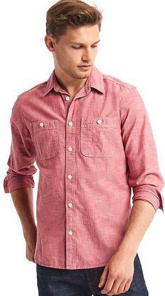 1969 Icon Worker Chambray Shirt Casual Shirts For Men, Men Casual, Work Shirts, Men's Shirts, Shirt Dress, T Shirt, Menswear, Slim, Chambray Shirts
