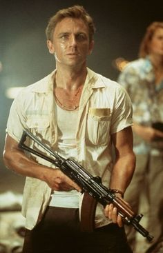 Daniel Craig as Alex West in Lara Croft: Tomb Raider.  What's interesting is that in here he speaks with an American accent and American actress and star Angelina Jolie did her role with a British accent.