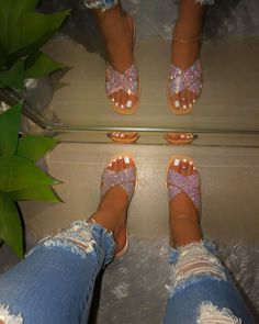 True To Size Criss cross detail with rhinestones ( Not Stretchy ) Hard Sole Flats Bling Sandals, Rhinestone Sandals, Cute Sandals, Cute Shoes, Me Too Shoes, Shoes Sandals, Shoes Sneakers, Women Sandals, Flat Shoes