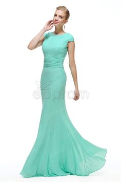 Modest Mint Green Mermaid Prom Dresses Cap Sleeves Long Bridesmaid dresses formal gowns with crystal