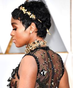 Janelle Monáe's New Super-Short Haircut Just Won The Oscars Red Carpet #refinery29 http://www.refinery29.com/2017/02/142715/janelle-monae-oscars-2017-look-pixie-cut#slide-2