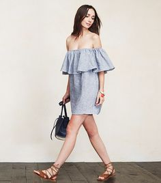Reformation Nashville Dress is an off-the-shoulder mini dress with a ruffled stretch neckline
