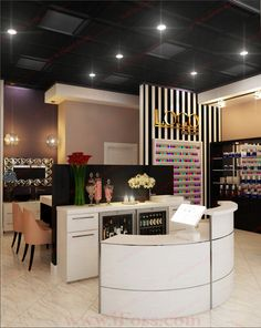 Pin by jessica betelak on future salon in 2019 оформление са Nail Salon Design, Nail Salon Decor, Salon Interior Design, Beauty Salon Interior, Beauty Bar Salon, Beauty Salon Design, Beauty Salons, Deco Spa, Salon Reception Area