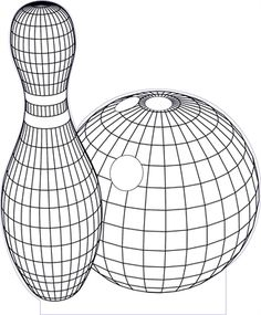 3D illusion bowling premium vector drawing