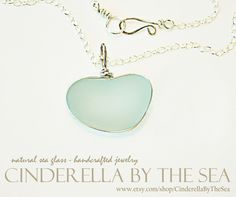 Sea Glass Heart, XXL Genuine Sea Glass Heart shaped by Nature - XXL Aquamarine Heart Shaped Sea Glass in Handmade Sterling Silver Necklace by CinderellaByTheSea on Etsy Handmade Sterling Silver, Sterling Silver Necklaces, Sea Glass Jewelry, Glass Beads, Broken China, Timeless Beauty, Precious Metals, Heart Shapes, Cinderella