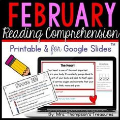Short reading passages for February that come printable and with access to a digital version for Google Slides™ to use with Google Classroom™. Topics include groundhogs, the heart, teeth, and presidents.