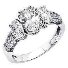 14k White Gold High Polish Finish Oval-cut 2.60 CTW Equivalent Three Stone Top Quality Shines CZ Cubic Zirconia Ladies Wedding Engagement Ring Band - Size 8 TWJC Wedding Collection http://www.amazon.com/dp/B004A9OKY4/ref=cm_sw_r_pi_dp_SVjhub0SVBRQC
