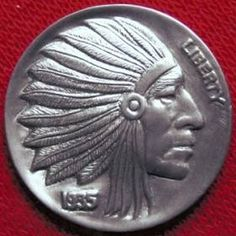 Native American in full headdress Hobo Nickel carved by Dave Boulay - photo from Original Hobo Nickel Society Old Coins, Rare Coins, Indian Skull, Indian Theme, Hobo Nickel, Mish Mash, Wood Carving, Native American, Cactus