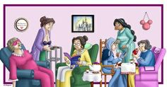 Princess Retirement Art Print by Katie Simpson  And they lived happily ever after... At the old folks home.  This is my version of the Disney Princesses as little old ladies. this is such a crack up for you Disney lovers.   Here we have Aurora (Sleeping Beauty) Ariel (The Little Mermaid) Belle (Beauty and the Beast) Cinderella, Jasmine (Aladdin) and Snow White (Snow White and the Seven Dwarfs).