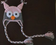 Hey, I found this really awesome Etsy listing at https://www.etsy.com/listing/167343514/pink-gray-owl-earflap-handmade-custom