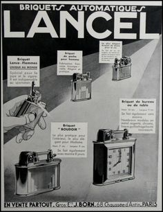 PUBLICITE ADVERTS LIGHTER BRIQUET LANCEL DESSIN DE HOLT  FRENCH AD  1931 Lighter, French, Event Posters, Advertising, French People, French Language, France