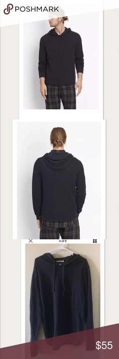 "$145 VINCE Men's Raw Edge Hoodie XXL $145 VINCE Men's Raw Edge Hoodie in H Manhattan Navy ~Size XXL~  High end department store customer return. In stores now for $145 + Tax  Very nice condition, gently worn  Drawstring knit hood Long sleeve Shirttail hem 100% cotton  Size XXL  Measures approximately: total length 29.5"" chest across 23.75""  Some light piling under arms, otherwise very nice- refer to photos.   PRICED TO SELL FAST! PLEASE ASK ANY QUESTIONS BEFORE PURCHASE, THANKS CHECK OUT MY…"