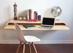 Minimal Float Wall Desk — Desk/Work -- Better Living Through Design