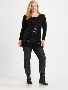 Black Sequins #plus size #fashion