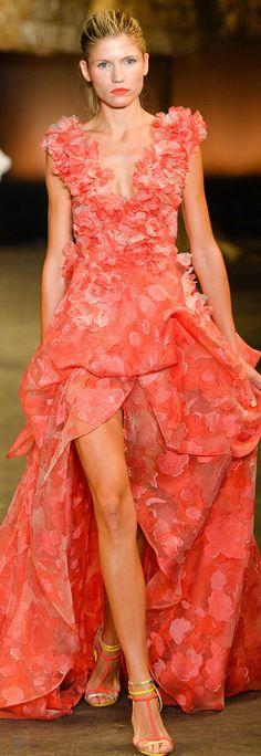 Christian Siriano ~ Summer Floral Tangerine Maxi Dress w Front Split  2014
