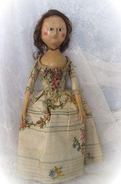 English Georgian Period Wooden Doll Circa 1790
