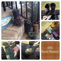 Make this cute boot planter. Quick and easy! Will quickly become the focal point of your plants! #Planter #DIYPlanter #Garden