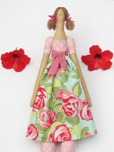 Rag doll Tilda doll cloth doll pink roses by HappyDollsByLesya