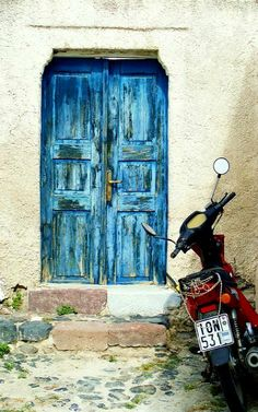 painted bright blue.. Santorini Island, Greece, blue door, culture, decay, entrence, steps, beauty, photograph, photo