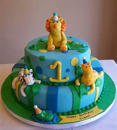Jungle animals - first birthday cake