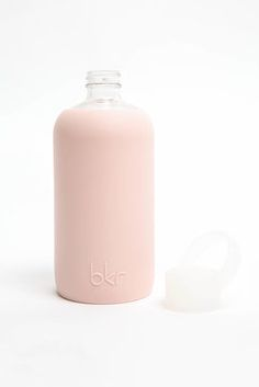 bkr Pout 16 oz. Glass Water Bottle in NUDE - additional front view
