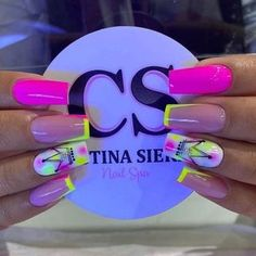Pink Acrylic Nails, Neon Nails, Matte Nails, Pink Nails, My Nails, Neutral Nail Art, Animal Nail Art, Hair Skin Nails, Gel Nail Designs