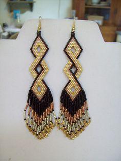 Native Amerian Style Beaded Twisted Earrings by BeadedCreationsetc
