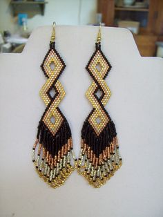 Native Amerian Style Beaded Twisted Earrings by BeadedCreationsetc