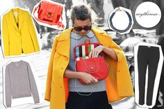 Natalie Joos: collana Lanvin, borsa Proenza Schouler, giacca Emilio Pucci, top Dear Cashmere, pantaloni Burberry London