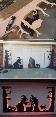 24 Cool DIY Halloween Projects Will Give Your Guests A Frigh.- 24 Cool DIY Halloween Projects Will Give Your Guests A Fright Use led strips to light a garage door silhouette from back, which was created from black-painted plywood or cardboard. Diy Halloween Projects, Soirée Halloween, Holidays Halloween, Diy Outdoor Halloween Decorations, Halloween Makeup, Halloween Couples, Halloween Treats, Garage Halloween Party, Halloween Decorating Ideas
