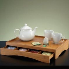 Bamboo Chai Tea Tray With Drawer by Umbra (Those K-cup drawers are too small to hold tea bags. This is almost perfect. I'd rather be able to stand the tea packets up. Wooden Tea Box, Wooden Boxes, Cool Kitchen Gadgets, Cool Kitchens, Woodworking Plans, Woodworking Projects, Tea Tray, Wood Tray, Wooden Art