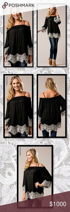 🎉HP🆕Boho Black & Lace Off Shoulder Top New Girly Super Adorable Off Shoulder Top Contrast Lace Detail Color: Black w/Lace Material: 100% Rayon Imported Fits true to size in a relaxed fit  Sizes Avail: Small, Medium, Large   💠💠PRICE FIRM UNLESS BUNDLED💠💠 ⭐️⭐️SORRY NO TRADES AND LOWBALL OFFERS WILL BE IGNORED ⭐️⭐️ 🌺🌺ADDITIONAL MEASUREMENTS AVAIL UPON REQUEST 🌺🌺 Glam Squad 2 You Tops Tunics