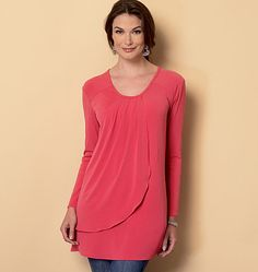 Butterick tunic sewing pattern designed for lightweight knits, like jerseys. Softly draped bodice. B6246, Misses' Top
