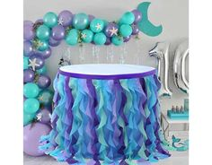 Mermaid Theme Birthday, Little Mermaid Birthday, Little Mermaid Parties, Blue Birthday Themes, Women Birthday, 8th Birthday, Birthday Ideas, Lila Party, Blue Party