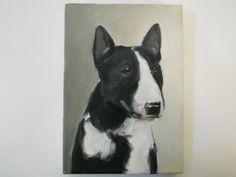 Original dog painting of a Bull Terrier portrait by BushmanStudio, $65.00
