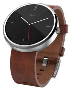Moto 360 with Cognac Leather Band- Moto 360 is a modern timepiece powered by Android Wear. Comfortable, familiar, and crafted with the finest materials, Moto 360 keeps you up to date without taking you away from the moment. Glance at your wrist to see updates or just speak to get the info you need. Because it's time a watch told you more than just the time.