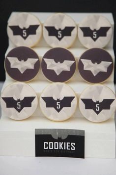 Love these batman cookies! Modern Batman Birthday Party via Kara's Party Ideas | by Sugar Coated Mama! Batman desserts, printables, recipes, and more! KarasPartyIdeas.com