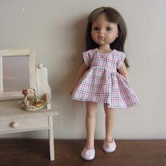 Habit de poupée : robe à carreaux manches courtes pour poupées corolle les chéries